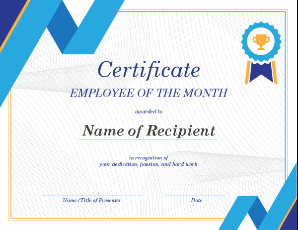 Employee Of The Month Certificate Intended For Great Job Certificate Template Free 9 Design Awards
