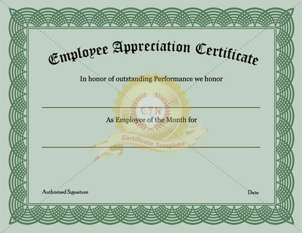 Employee Recognition Certificate Template Appreciation Intended For Certificate Of Employment Templates Free 9 Designs