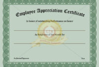 Employee Recognition Certificate Template Appreciation with regard to Great Job Certificate Template Free 9 Design Awards