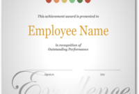 Employee Recognition Certificate Template Excellence Award regarding Free Employee Appreciation Certificate Template