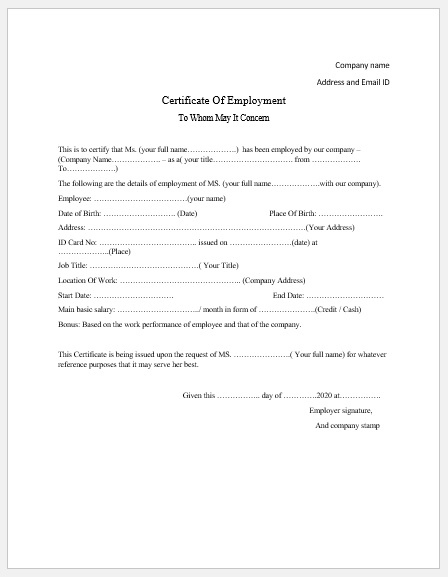 Employment Certificate Templates - Microsoft Word Templates With Certificate Of Employment Templates Free 9 Designs