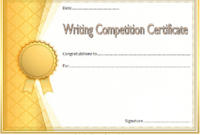 Essay Writing Competition Certificate Template Free 1 intended for Writing Competition Certificate Templates