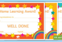 👉 Home Learning Award | Printable Certificate Template with Happy New Year Certificate Template Free 2019 Ideas