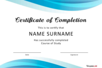 Fantastic Certificate Of Completion Templates Word with Unique Training Completion Certificate Template 10 Ideas