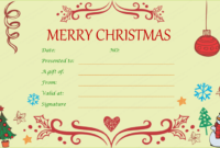 Festive Decorating Christmas Gift Certificate Template throughout Merry Christmas Gift Certificate Templates