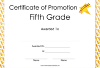 Fifth Grade Promotion Certificate Printable Certificate throughout Best Certificate Of Job Promotion Template 7 Ideas