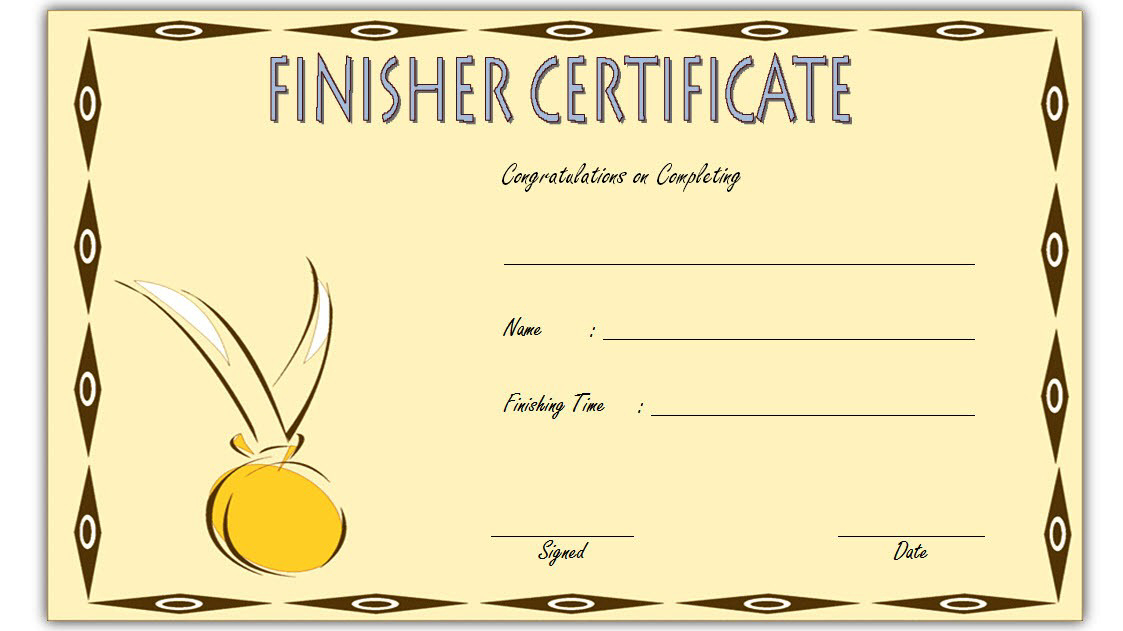 Finisher Certificate Template Free 3 In 2020 | Certificate within Fresh Finisher Certificate Template 7 Completion Ideas
