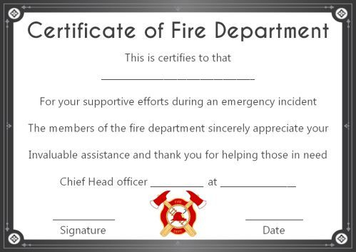 Fire Safety Certificate: 10+ Safety Certificate Templates Regarding Fresh Firefighter Certificate Template