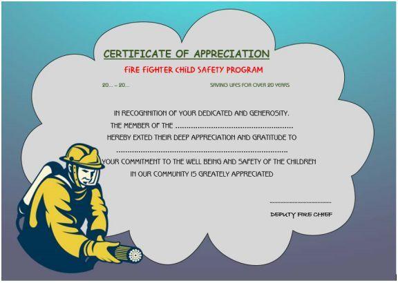 Firefighter Appreciation Certificate | Certificate Templates With Regard To Firefighter Certificate Template Ideas