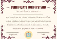First Aid Certificate Template: 15 Free Examples And Sample inside First Aid Certificate Template Free