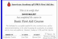 First Aid Certification Online Free Basic Short Courses regarding Unique First Aid Certificate Template Free