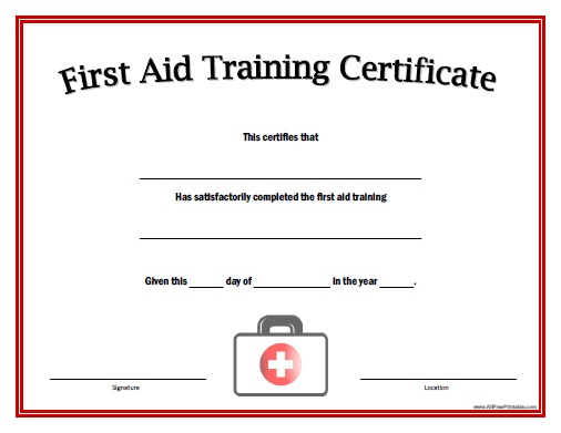 First Aid Training Certificate - Free Printable within First Aid Certificate Template Free