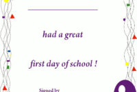 First Day Of School Certificate, Free Printable Back To throughout Unique First Day Of School Certificate Templates Free