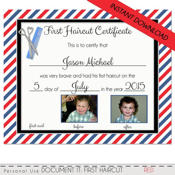 First Haircut Certificate, Baby First Haircut Photo Certificate, Barber  Shop Certificate, Diy, Pdf & Corjl Instant Download 8X10 With Regard To First Haircut Certificate