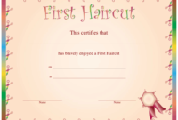 First Haircut Certificate Printable Certificate for Best First Haircut Certificate