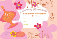 Five Petals Mother'S Day Gift Certificate Template | Gift inside Best Mothers Day Gift Certificate Template