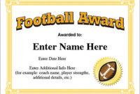 Football Award Certificate Template – Recognition inside Youth Football Certificate Templates