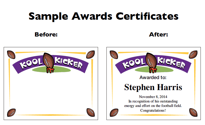 Football Certificate Templates | Youth Award Printables Pertaining To Youth Football Certificate Templates