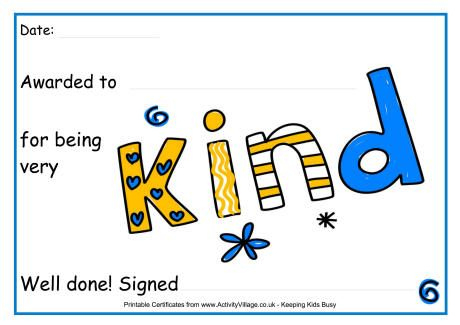 For Being Kind Award Certificate | Award Certificates, Kids Intended For Kindness Certificate Template Free
