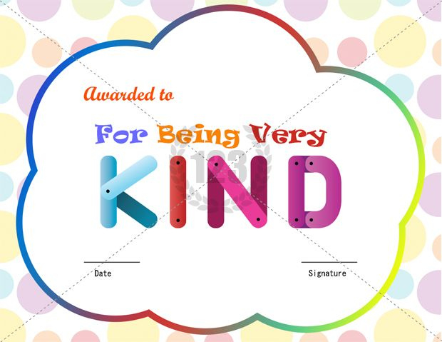 For Being Kind Award Certificate Template Download Free within Unique Kindness Certificate Template Free