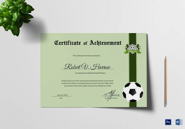 Free 15+ Sample Football Certificate Templates In Pdf | Psd Regarding Best Coach Certificate Template Free 9 Designs