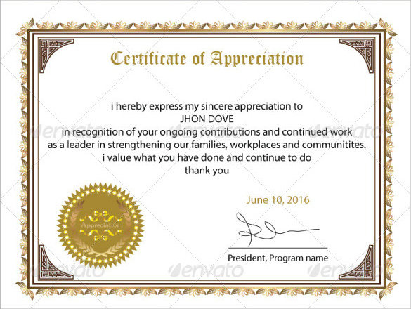 Free 34+ Sample Certificate Of Appreciation Templates In Pdf With Regard To Unique Employee Appreciation Certificate Template