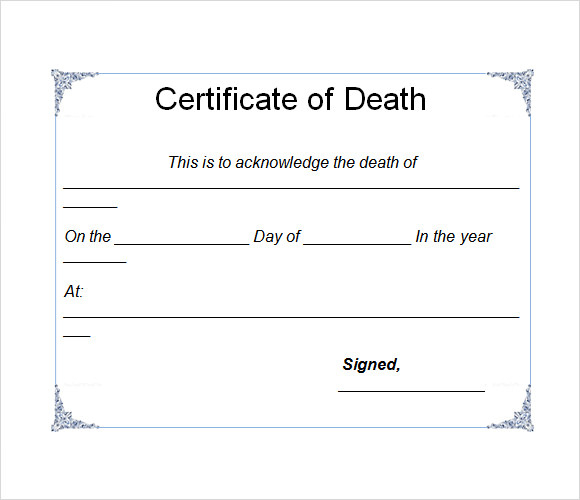 Free 4+ Useful Sample Death Certificate Templates In Pdf Inside Unique Blank Death Certificate Template 7 Documents