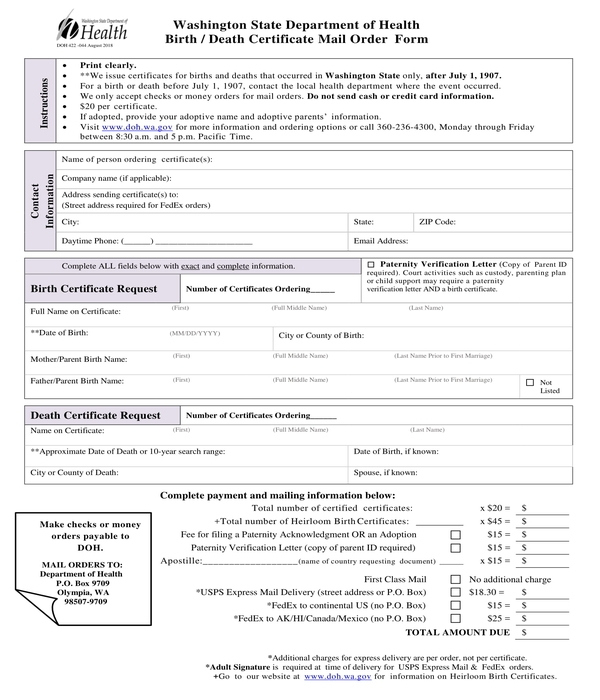Free 5+ Death Certificate Forms In Pdf | Ms Word Intended For Unique Blank Death Certificate Template 7 Documents