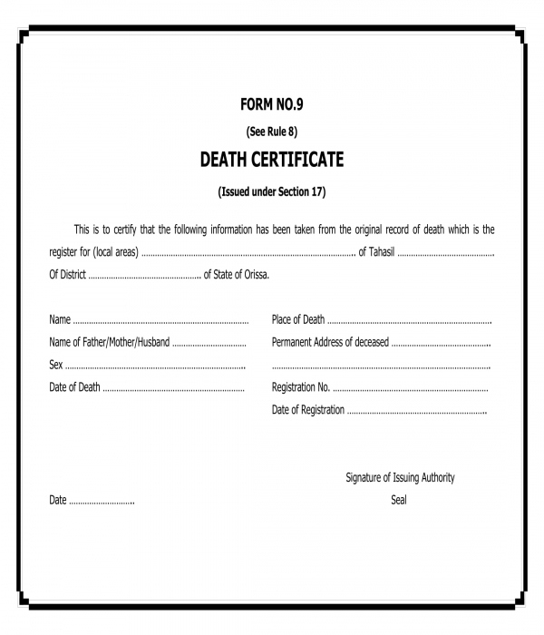 Free 5+ Death Certificate Forms In Pdf | Ms Word with Blank Death Certificate Template 7 Documents