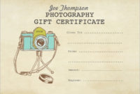 Free 9+ Sample Attractive Photography Gift Certificate throughout Unique Printable Photography Gift Certificate Template