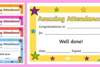 Free! – Amazing Attendance Award Certificate – Template – Twinkl intended for Perfect Attendance Certificate Template Free
