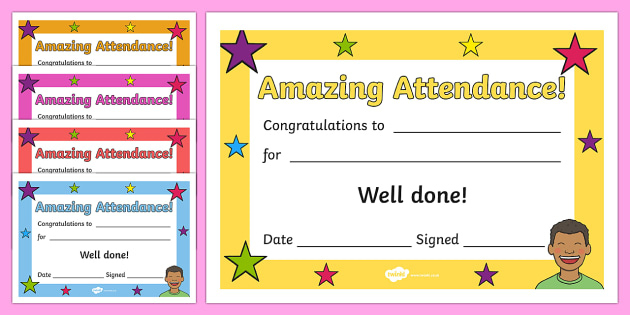 Free! - Amazing Attendance Award Certificate - Template - Twinkl Intended For Perfect Attendance Certificate Template Free