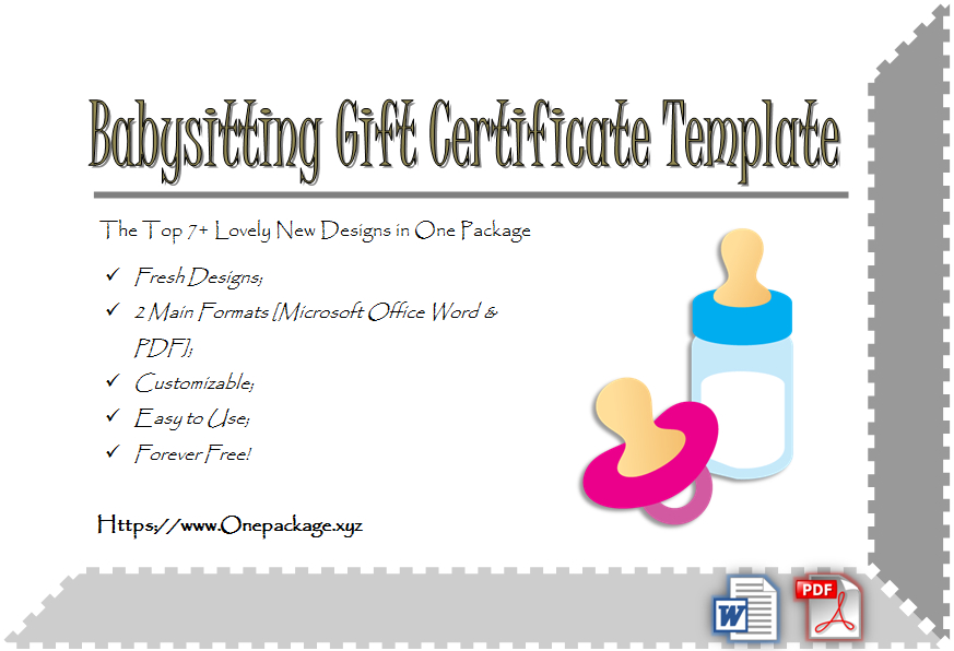 Free Babysitting Gift Certificate Template In 2020 | Gift pertaining to Best 7 Babysitting Gift Certificate Template Ideas