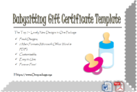 Free Babysitting Gift Certificate Template In 2020 | Gift throughout Babysitting Gift Certificate Template