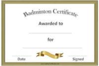 Free Badminton Certificate Template – Customize Online for Best Badminton Certificate Template