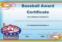 Free Baseball Award Certificate Template Word   Awards within Best Editable Baseball Award Certificates