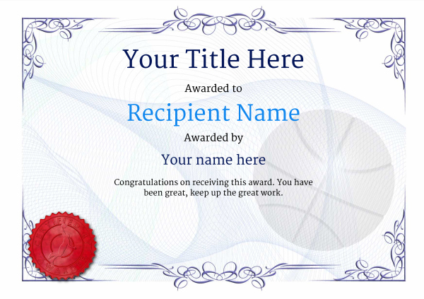 Free Basketball Certificate Templates - Add Printable Badges With Best Basketball Achievement Certificate Templates
