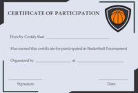 Free Basketball Participation Certificate | Free Basketball with regard to Best Basketball Tournament Certificate Template Free