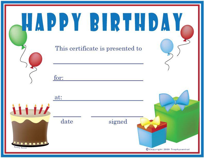 Free Birthday (Boy) Certificates, Certificate Free Birthday within Birthday Gift Certificate