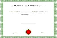Free Certificate Of Authenticity For Autograph Template In intended for Certificate Of Authenticity Free Template
