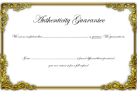 Free Certificate Of Authenticity Jewellery Template (Gold within Certificate Of Authenticity Templates