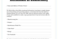 Free Certificate Of Conformity Templates | Free Certificate within Certificate Of Conformity Template Ideas