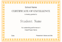 Free Certificate Of Excellence Template (1) – Templates regarding Academic Achievement Certificate Templates