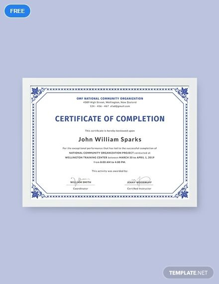 Free Certificate Of Project Completion Template - Word (Doc pertaining to Dog Obedience Certificate Template Free 8 Docs