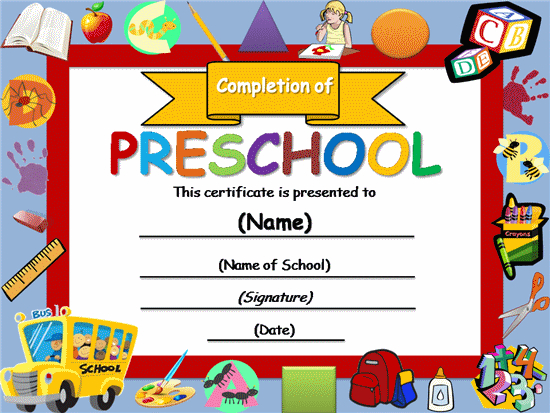 Free Certificate Templates | Templates Certificates Throughout Fresh Kindergarten Certificate Of Completion Free