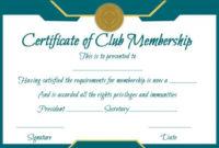 Free Club Membership- Certificate Template | Certificate inside Unique Badminton Certificate Template Free 12 Awards