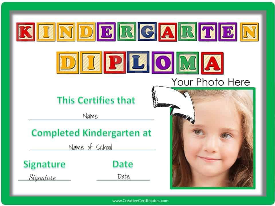 Free Custom Kindergarten Graduation Certificates Throughout Kindergarten Certificate Of Completion Free