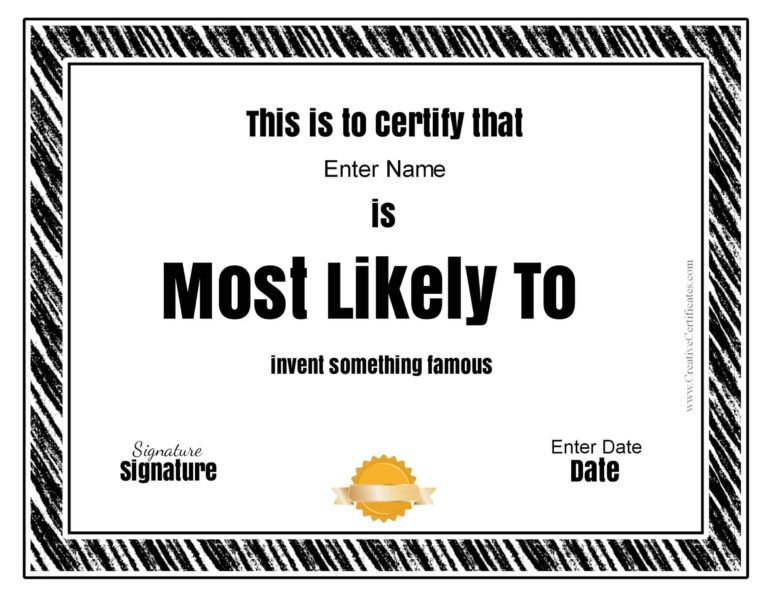 """Free Customizable """"Most Likely To Awards"""" With Regard To With Regard To Best Most Likely To Certificate Template Free"""