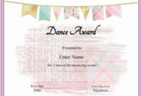 Free Dance Certificate Template – Customizable And Printable for Unique Dance Certificate Templates For Word 8 Designs