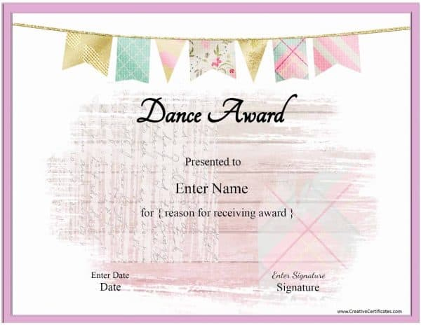 Free Dance Certificate Template - Customizable And Printable For Unique Dance Certificate Templates For Word 8 Designs